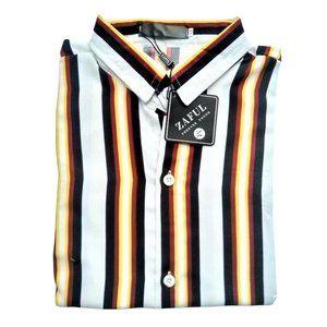 Zaful Button Up Vertical Stripe Shirt, Medium